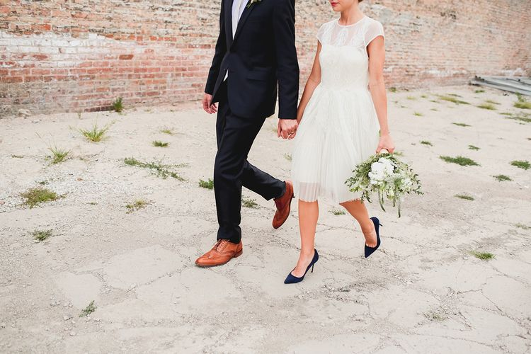 Short wedding dress + blue pumps - bride and groom wedding photo | fabmood.com #rooftopwedding #bridalhairstyle #braided