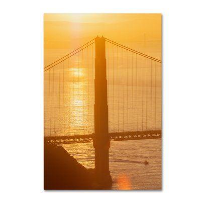 "Trademark Art 'Bridge 6' Photographic Print on Wrapped Canvas Size: 19"" H x 12"" W"
