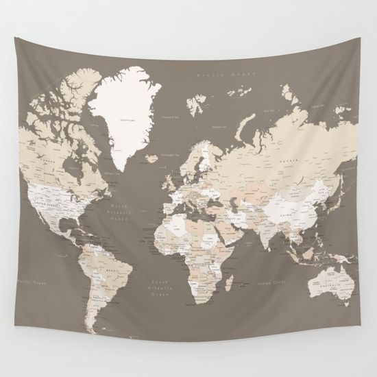 World map with cities earth tones sizes large xl only wall world map with cities earth tones sizes large xl only wall tapestry gumiabroncs Images