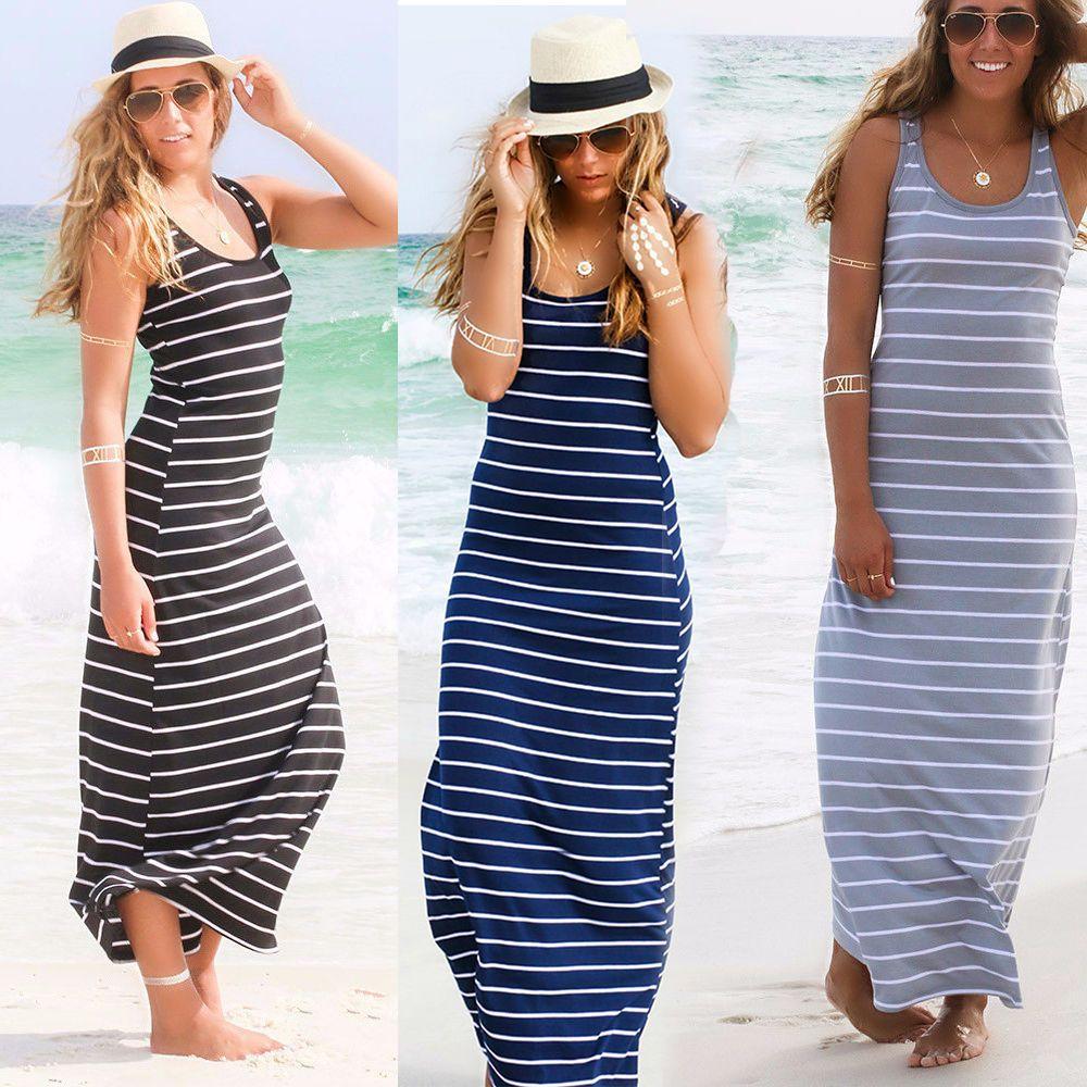 fdcd0445a8d6 Women Summer Sexy Long Maxi Party Long Sleeve Dress Seaside Beach Dress  Sundress