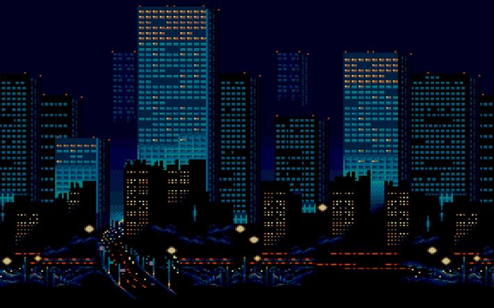 Download wallpapers skyscrapers, nightscapes, 8 bit, creative, art