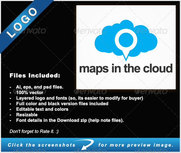 Maps In The Cloud Logo Templates Logo Templates Map Clouds
