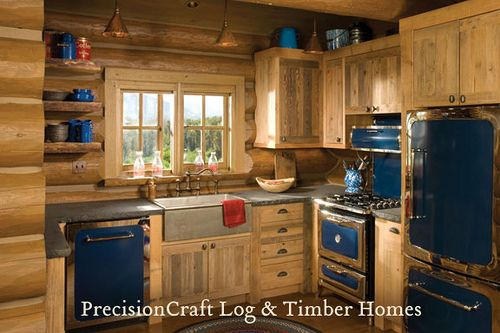 Custom Kitchen In A Handcrafted Log Home Located In Idaho Precisioncraft Log Homes Small Cabin Kitchens Tiny House Kitchen Rustic Cabin Kitchens