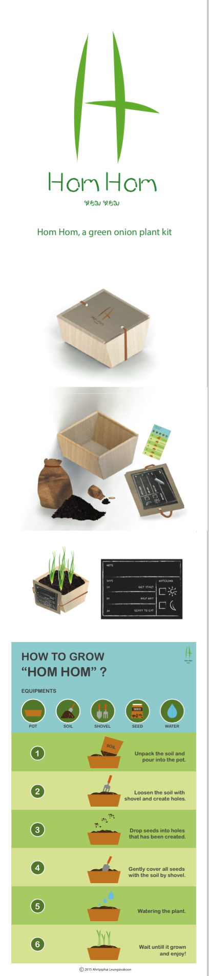 Hom Hom, a green onion plant kit. package design, graphic design, logo design