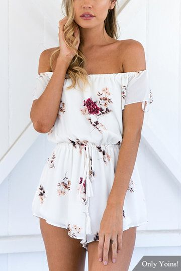1e43a3716981 White Off the Shoulder Random Floral Print Drawstring Waist Playsuit ...