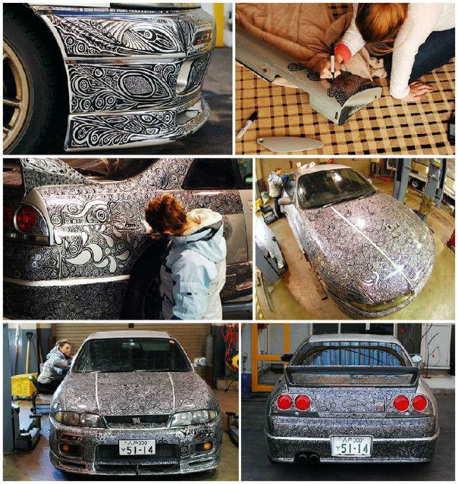 Wife Uses A Sharpie Pen To Give His Husbands Nissan Skyline GTR - Artist wife doodles husbands car