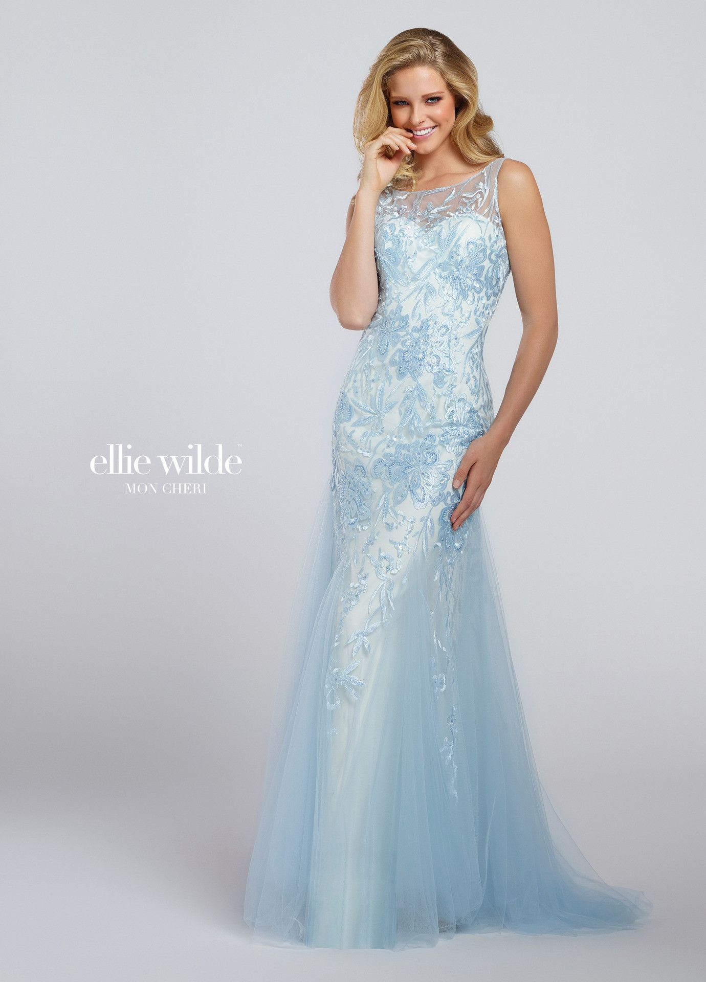Ellie wilde ice blue illusion neck embroidered prom dress