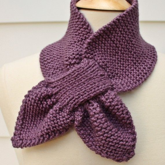 Knit keyhole scarf, warm winter scarf, ultra violet scarf, knit ...