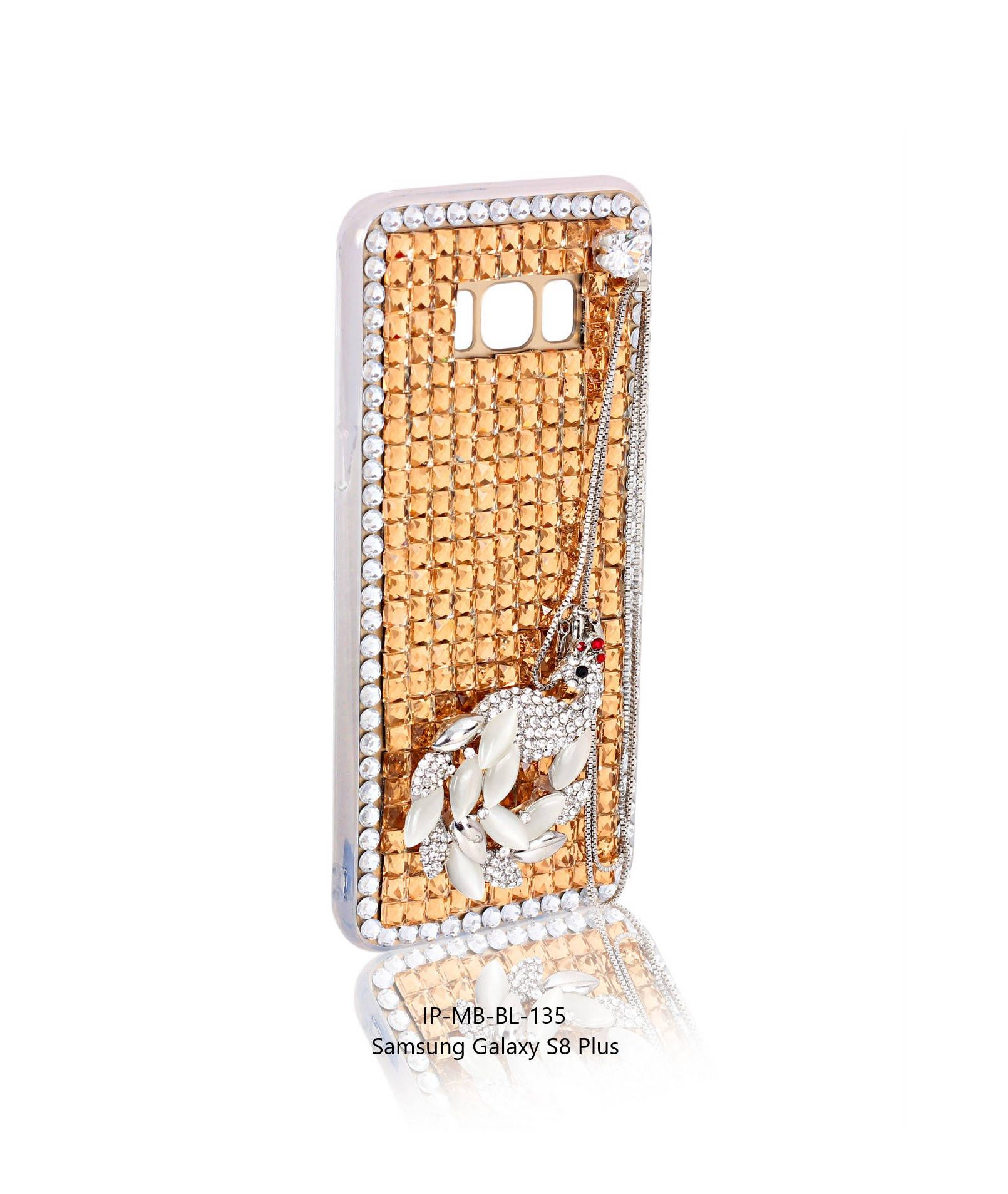 ec896c92c Indian Petals Diamond Studded Pearl Peacock with Chain Design Handmade  Mobile Bling Back Cover Case Stylish Party Cover for Samsung Galaxy S8 Plus  Gift