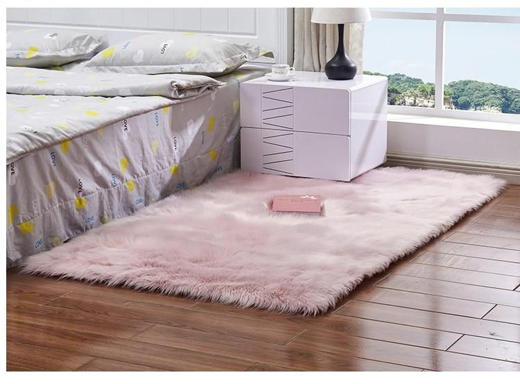 2019 Hot Sale Faux Sheepskin Chair Cover 15 Colors Warm Hairy Wool Carpet Seat Pad Long Skin Fur Plain Fluffy Area Rugs Washable Fluffy Rug Rugs On Carpet Faux Sheepskin Rug