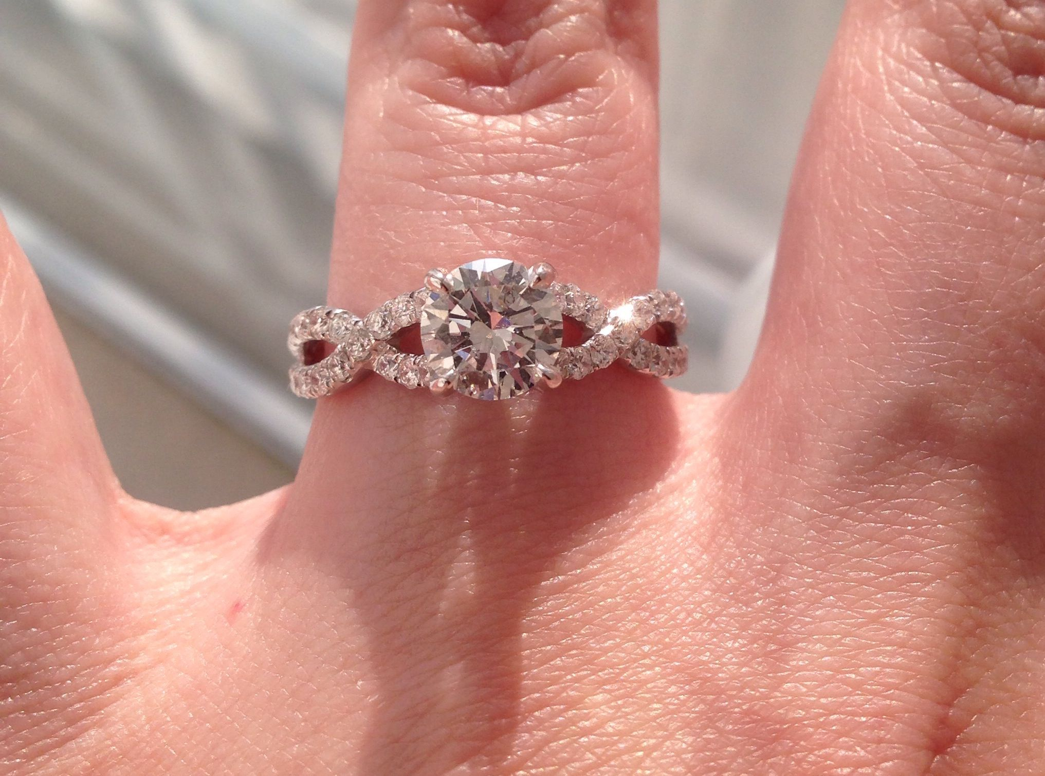 My beautiful ring! I said yes 2/18/14 <3 Solitaire, infinity band ...