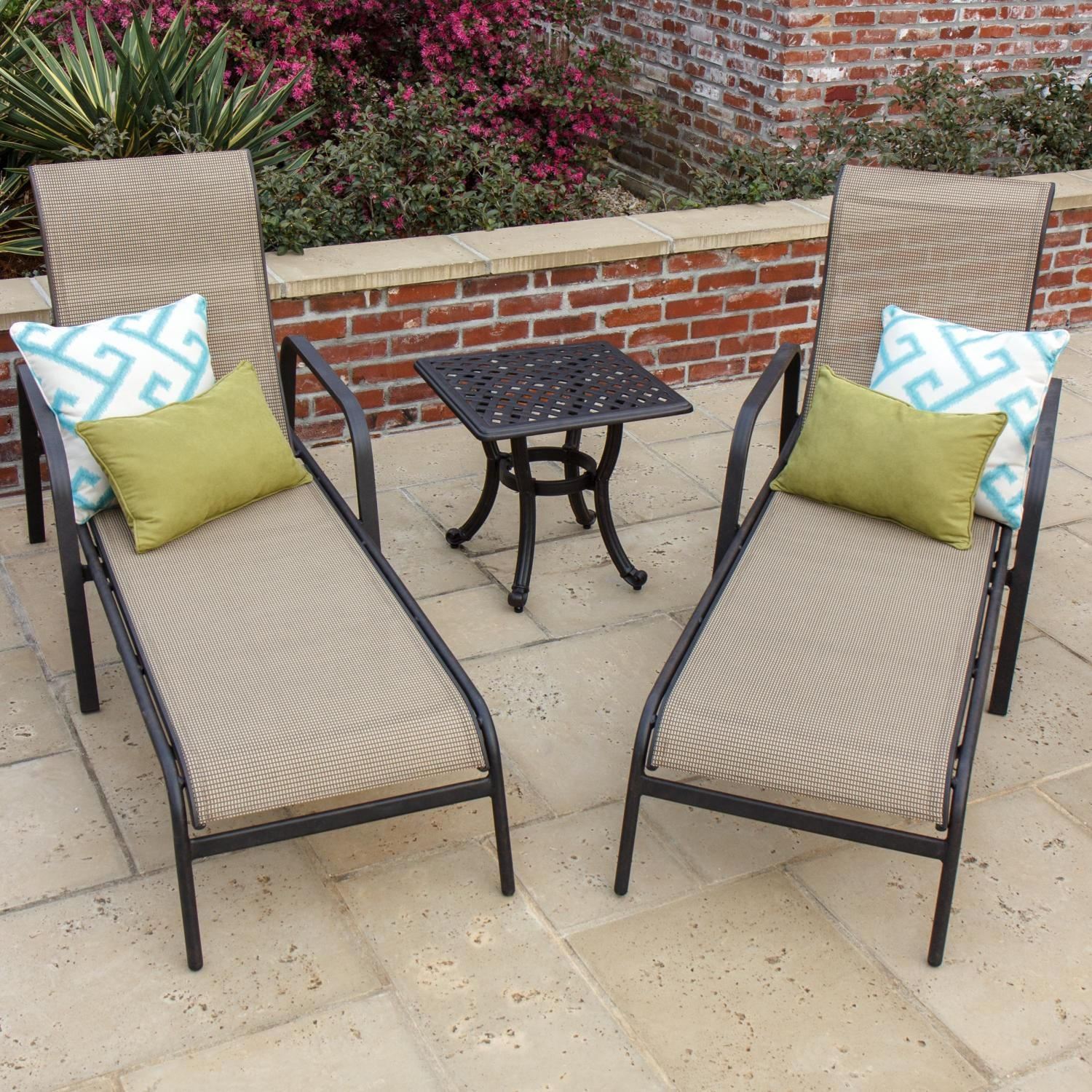 Madison Bay 2 Person Sling Patio Chaise Lounge Set With Cast