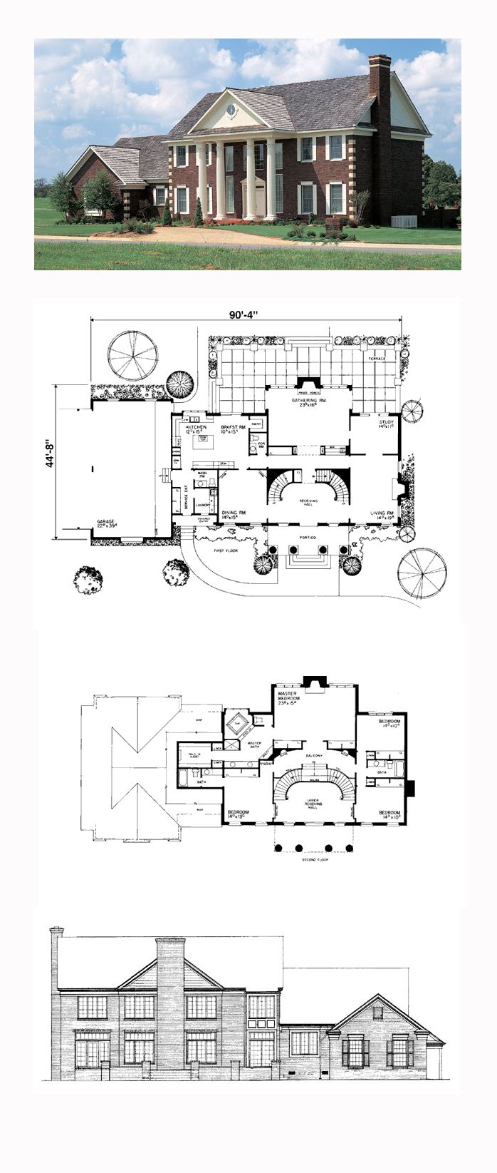 Plantation House Plan 90299 | Total Living Area: 4220 sq. ft., 4 bedrooms and 3.5 bathrooms. #plantationhome