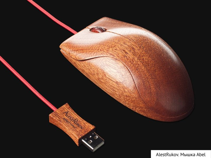 A wooden mouse