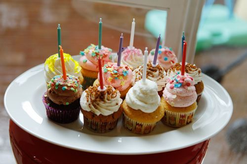 long candles on cupcakes