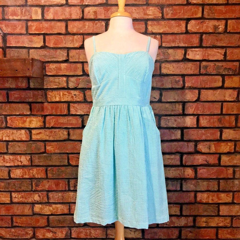 NWT Cremieux Seersucker Dress Size 8 Anchor Collection Green Striped ...