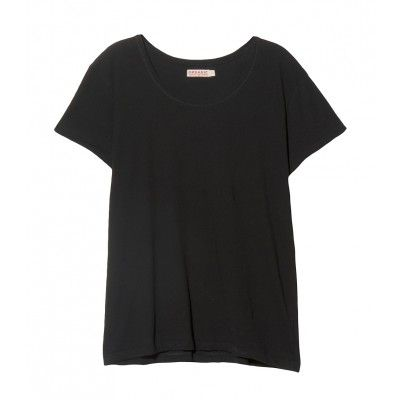 Short sleeve scoop neck basic tee. 24'' shoulder to hem.  100% Organic Cotton. Hand Wash. Imported. Model wears size Small. Sizes XS-M . Color: Black
