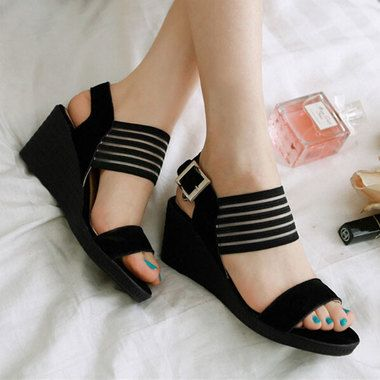 bd5ebc30fae5 Striped Broad Ankle Strap Open Toe Wedge Sandals Shoes For Women on  buytrends.com