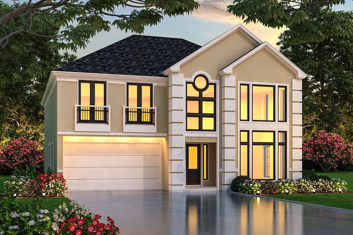 Plan 36586TX: 3-Bed Home Plan with Master Suite Balcony in ...