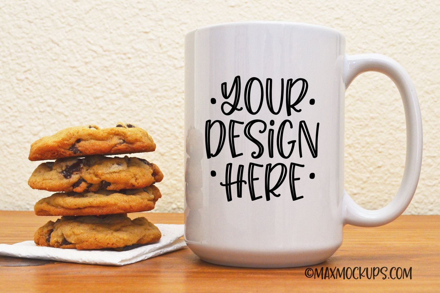 White mug mock up, 15 oz cup with cookies, styled photo