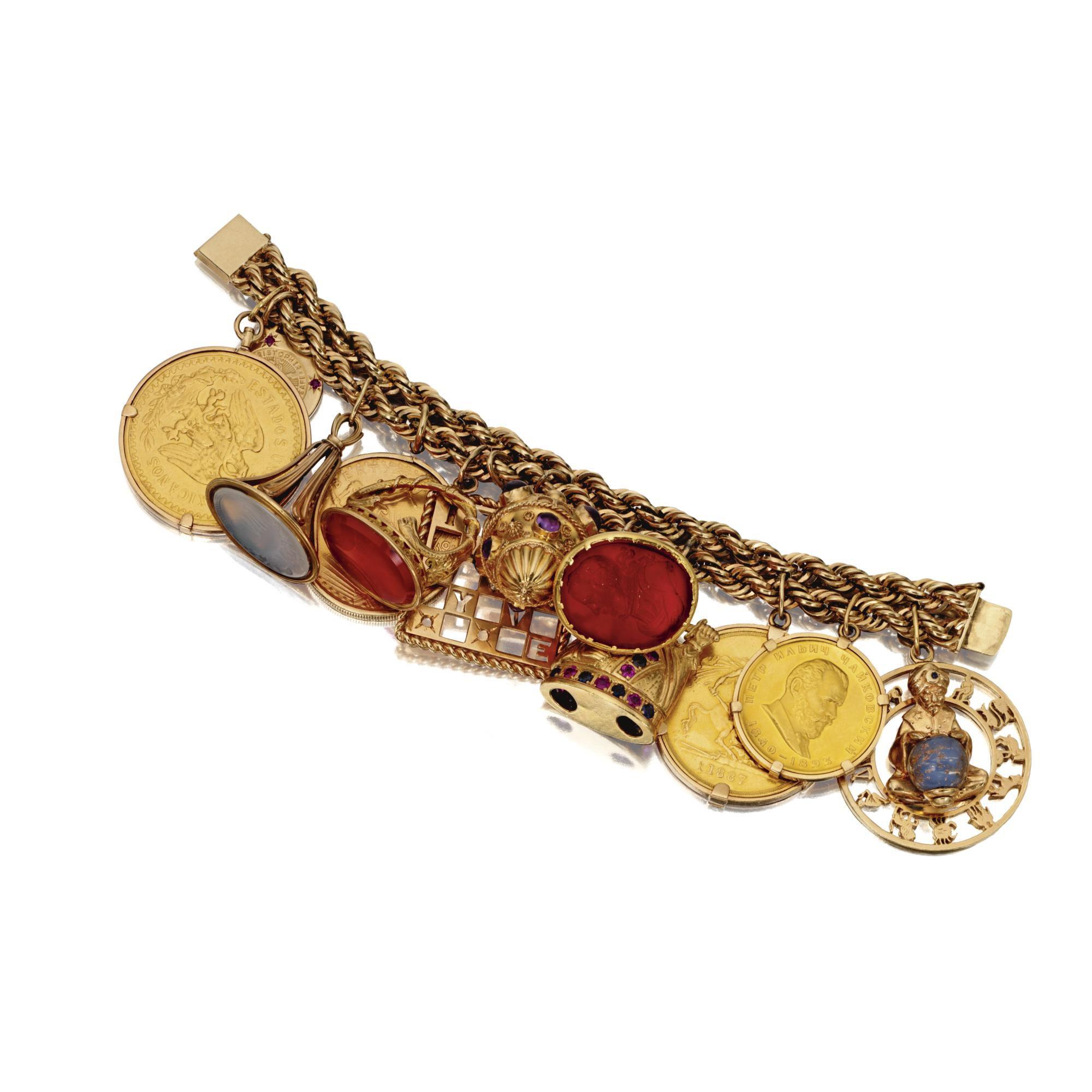 14 Karat Gold Charm Bracelet Sotheby S