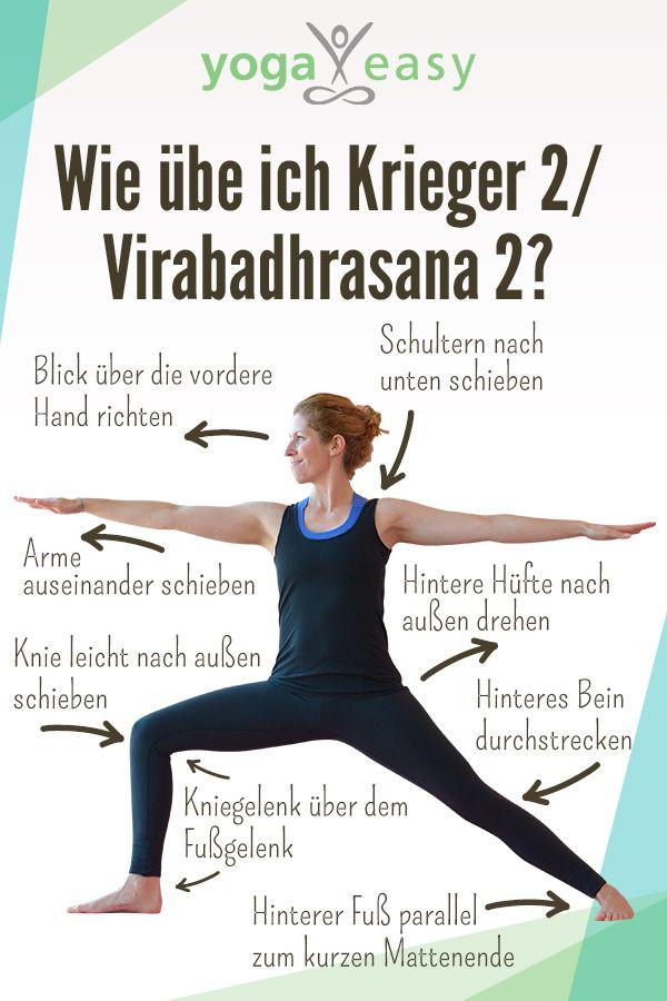 So geht der Krieger 2 – Virabadhrasana 2. In die Haltung kommen und die Yoga-Übung korrekt ausführen.