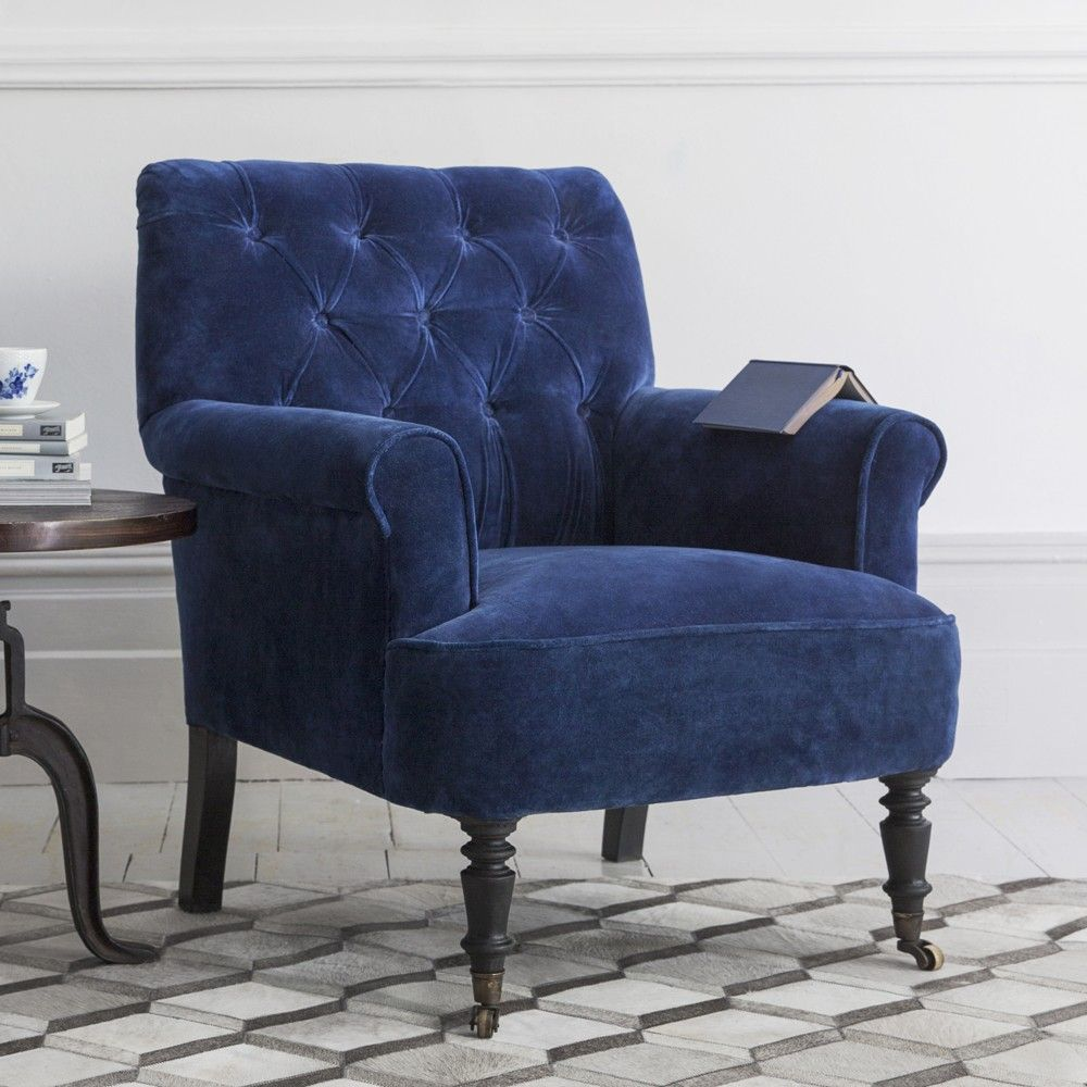 Best Pimlico Button Back Velvet Armchair Blue Velvet Armchair 400 x 300
