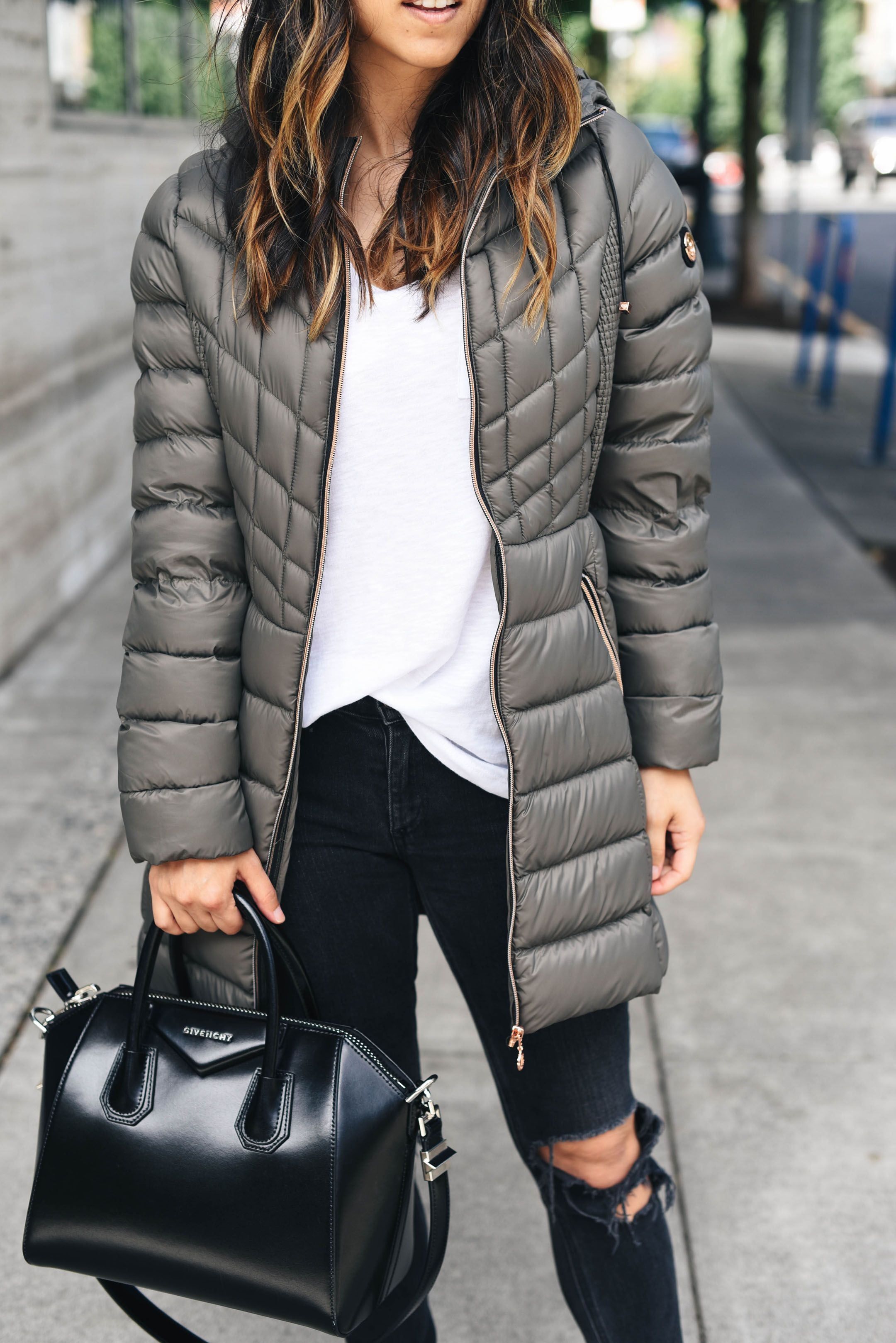 Style Blogger Crystalinmarie Bernardo primaloft and down coat in soil b10d3ace6