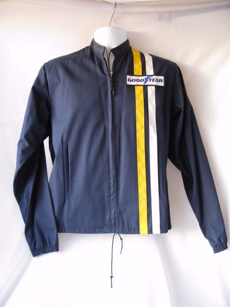 835fa6cf7 Vintage 60s Goodyear Official Racing Jacket Mens Small Blue- Stripes ...