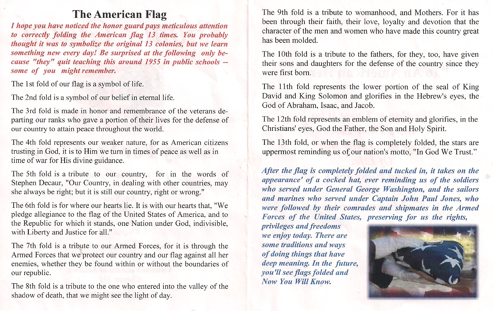 The Meaning Of The Folding Of The American Flag