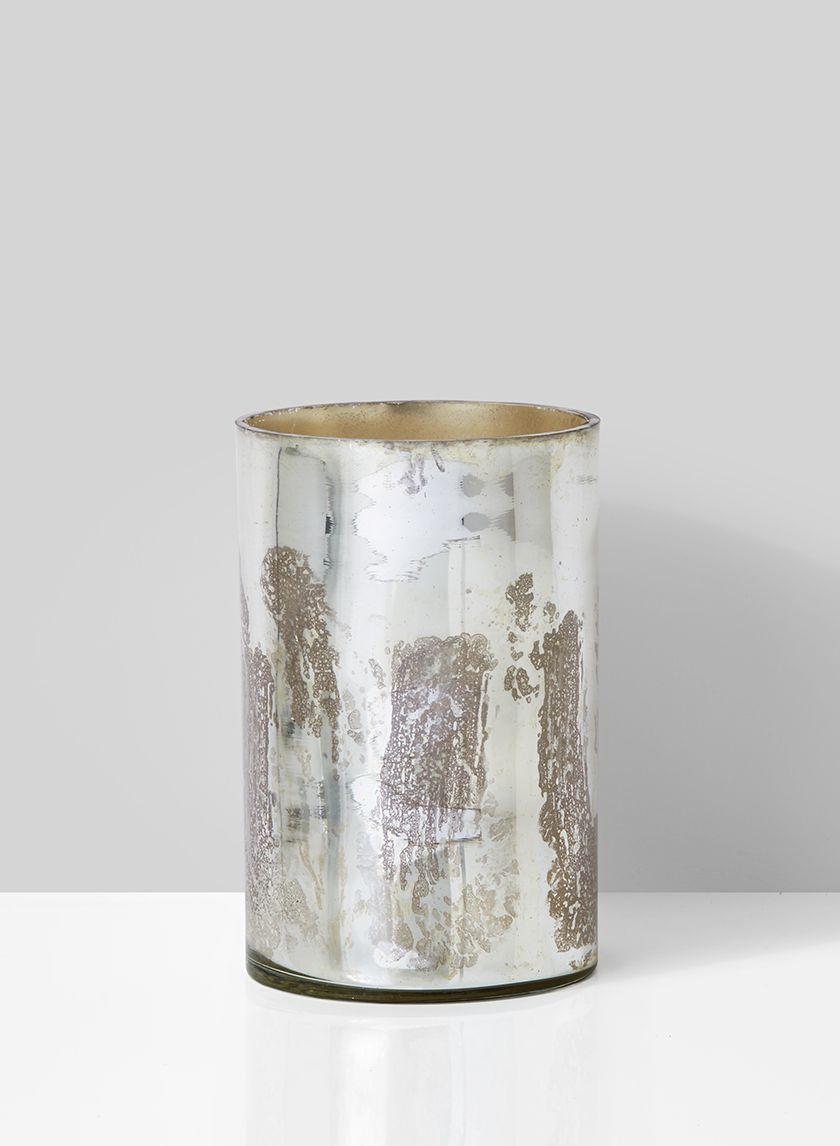 Vintage Look Silver Glass Vase Mercury Glass Candle Holders Mercury Glass Candles Wedding Vase Centerpieces