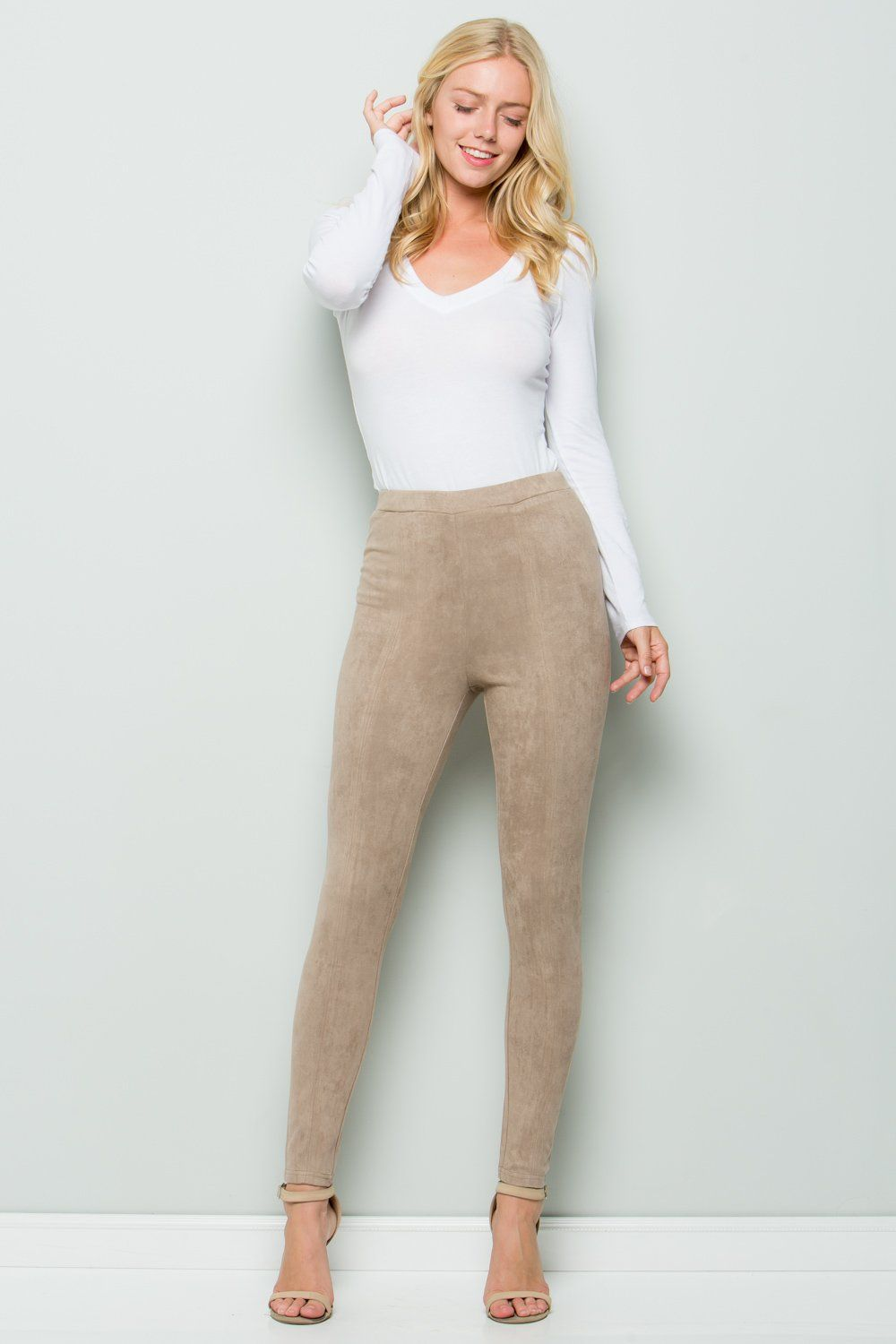 Peace + Love Red High Waist Faux Suede Skinny Trouser