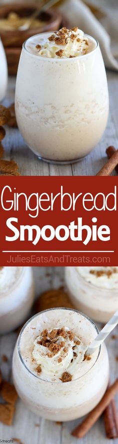 Gingerbread Smoothie ~ Healthy Gingerbread Smoothie Loaded with Classic Gingerbread Flavor. A Quick and Easy Breakfast, Snack, or Dessert for the Holiday Season. via @julieseats