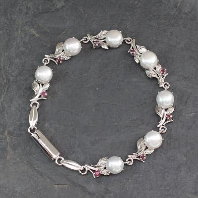 Cultured pearl and ruby link bracelet, 'Nature's Gift' - Pearl and Ruby Floral Silver Link Bracelet from India