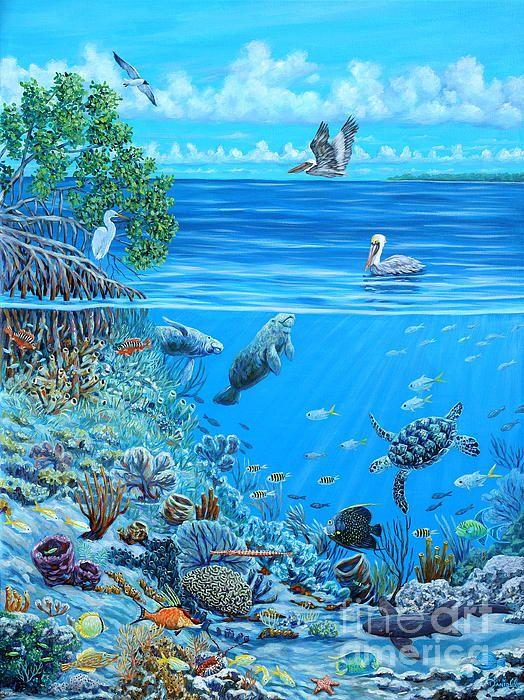 Artist Danielle Perry Underwater Reef Scene Underwater Painting Ocean Painting Under The Sea Drawings