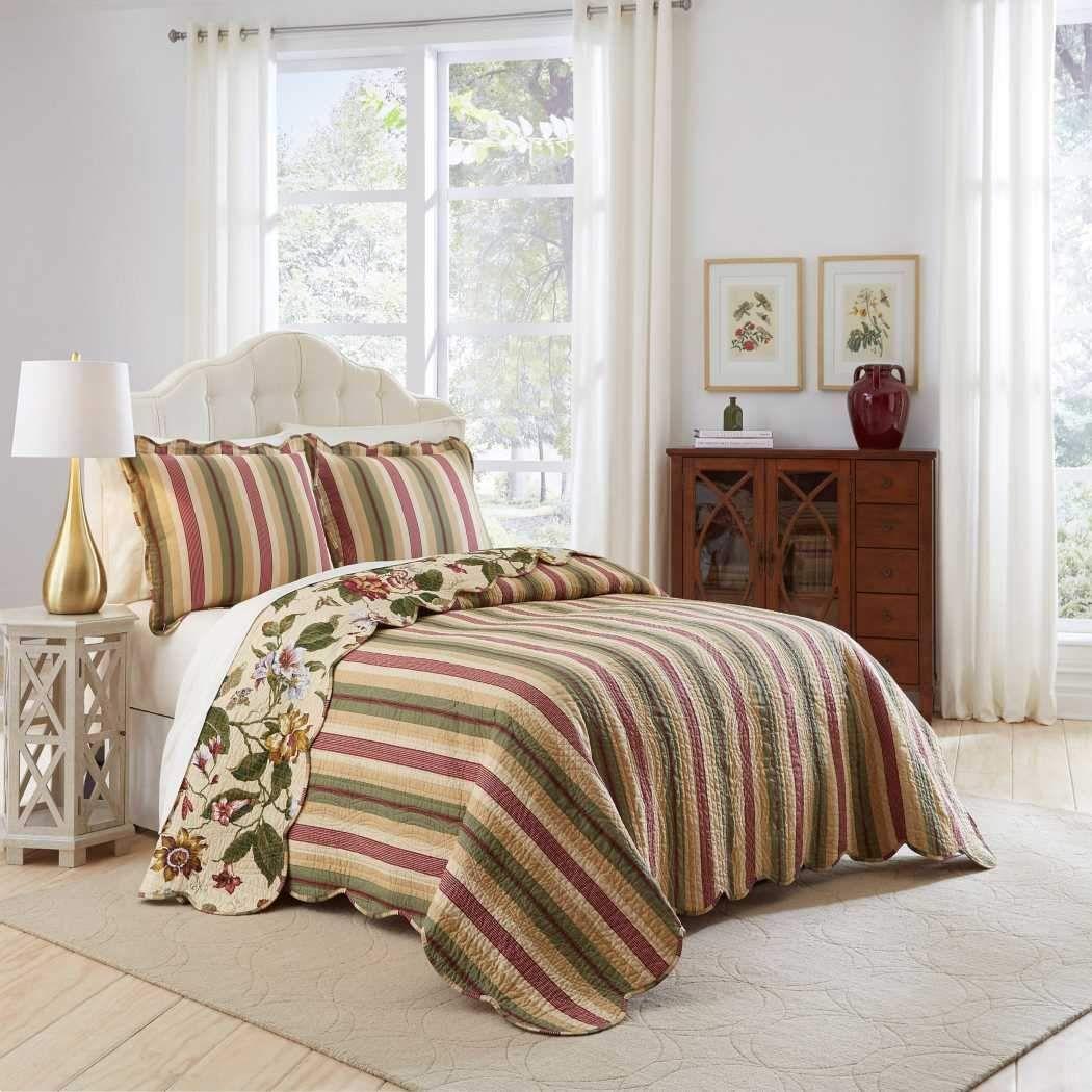 Leafy Floral Stripes Oversized Bedspread Floor Set