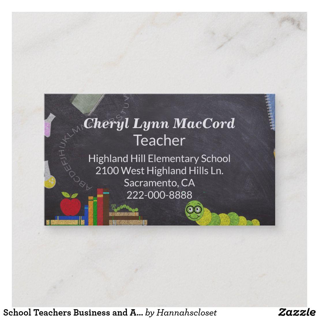 School Teachers Business And Appointment Card Teachers