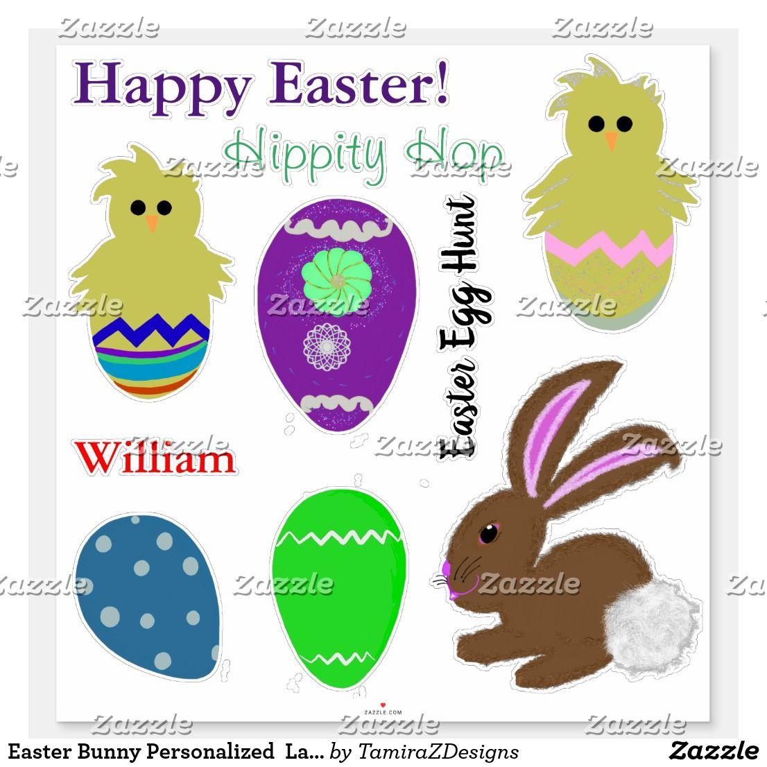 Easter Bunny Personalized Laser Cut Vinyl Sticker   Zazzle