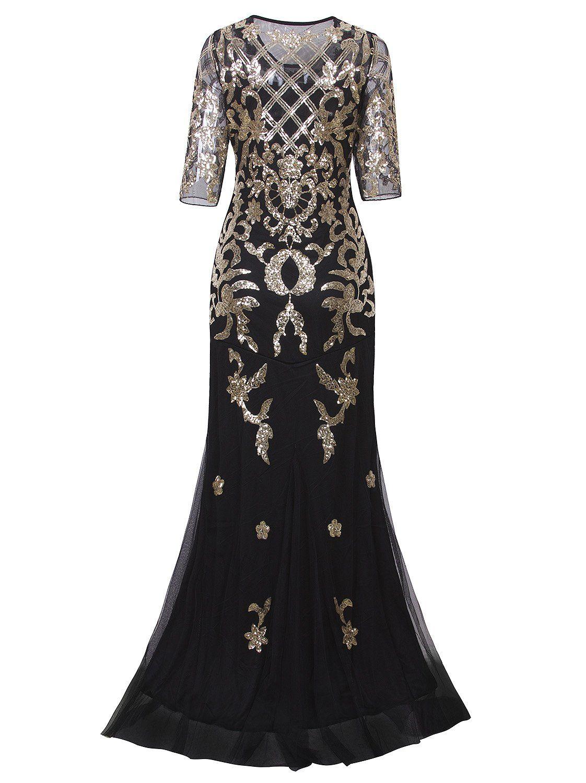 Vijiv vintage s long wedding prom dresses sleeve sequin