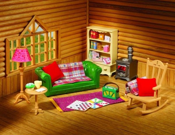Image Of Stupendous Sylvanian Families Log Cabin Living Room Furniture Set  With Antique Wooden Rocking Chair