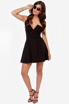 Cute Black Strapless Dress