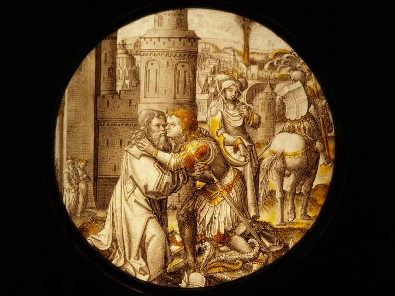 Description: London, England: Victoria and Albert Museum: St George Takes Leave of the King of Selene (about 1520-1530, Amsterdam, probably after designs by Jacob Cornelisz van Oostsanen)