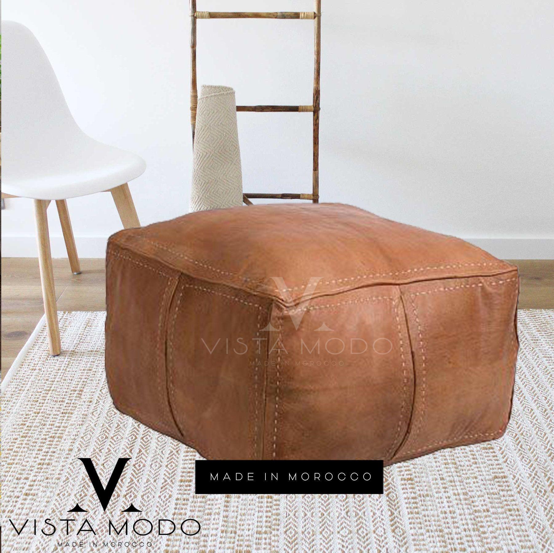 Stuffed Moroccan Pouf Ottoman Floor Leather Luxury Etsy In 2020