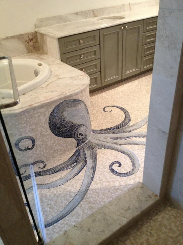 LOVE THIS me too Way cool Octopus design  Octopus Charm  Mosaic bathroom Octopus
