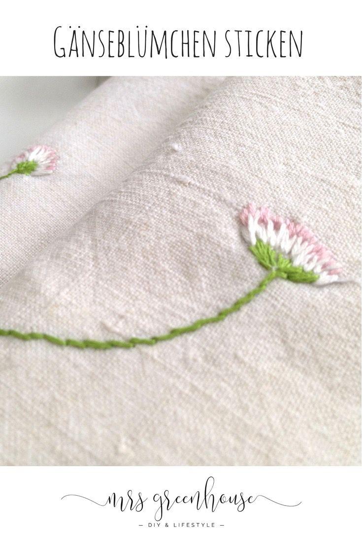 Marguerites brodées – 10 minutes DIY   Mrs Greenhouse – Blog de bricolage avec des instructions créatives que vous pouvez faire vous-même   – Kreatives: Sticken  ✂️