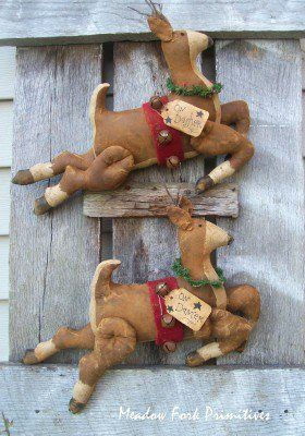 Dasher and Dancer flying reindeer. Crafted by Meadow Fork Primitives. Please contact for ordering info.