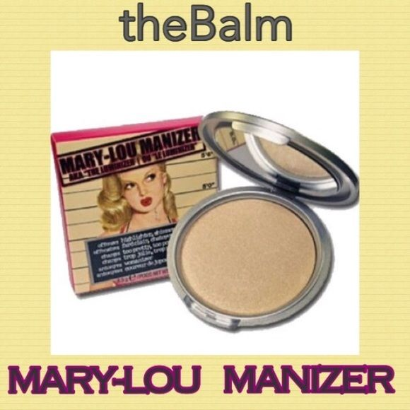 the Balm Mary-Lou Manizer Luminizer Mary-Lou is a shimmer highlighter & shadow. This very popular luminizer diffuses light so your skin looks softer & younger while adding a subtle glow. BNIB. Never used or swatched. 100% Authentic. No Trades, No PO. Price Firm. The Balm Makeup Luminizer