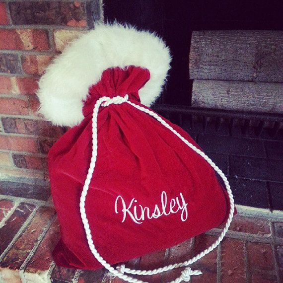 Personalized Mini Santa Christmas Bag by NoOdLeSBoutique on Etsy