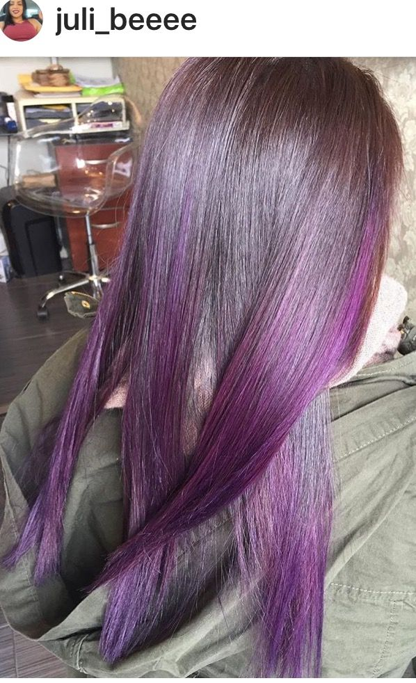 Purple hair, purple gloss, dark hair, purple highlights, hair ...