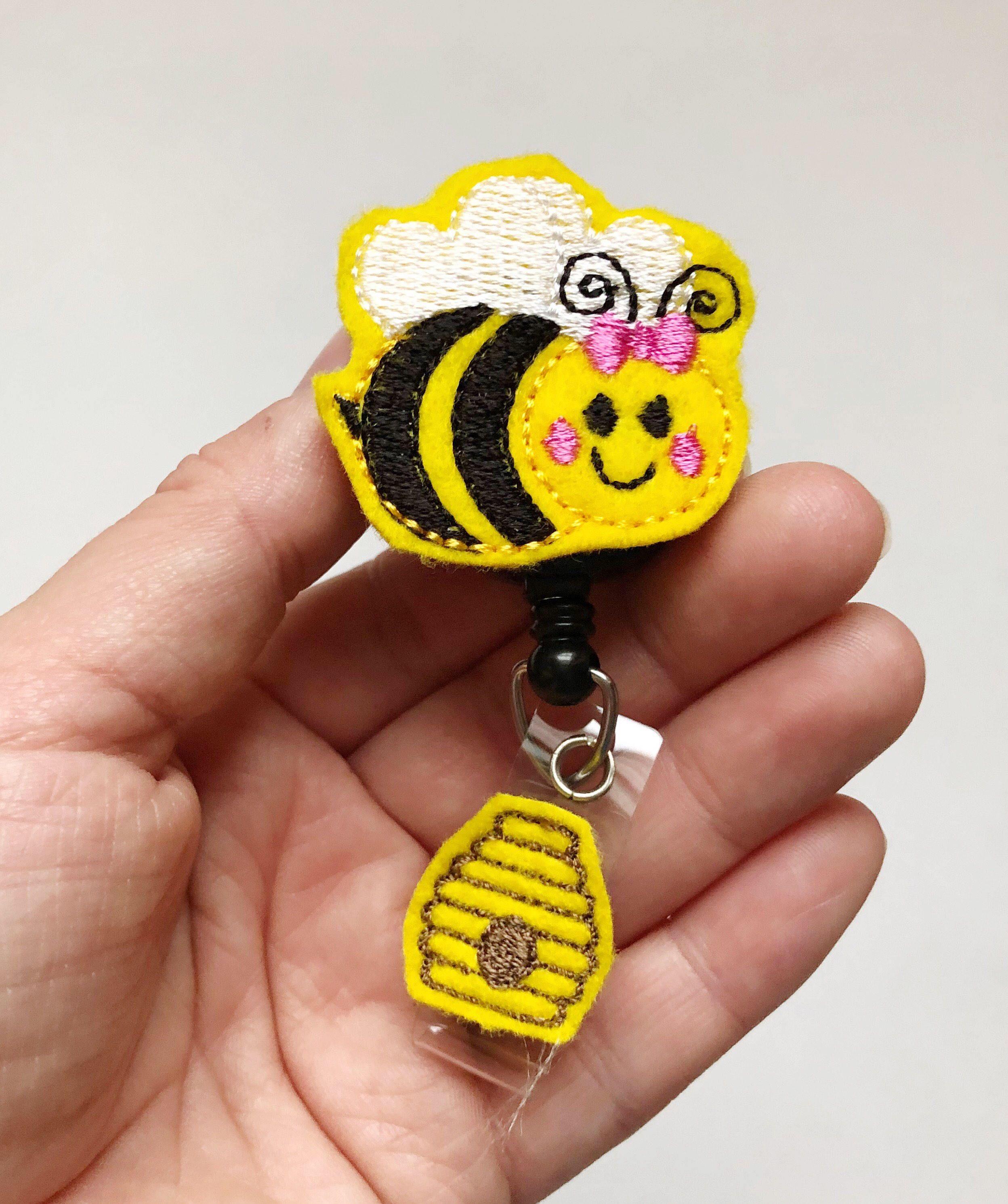 Nurse badge clip Nurse badge reel RN badge reel Bee Retractable Badge reel